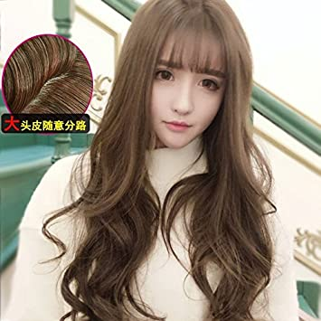 Korea Fre Of Long Curly Hair Repair Face Temperament Large Waves Roll Long Hair Wig Lifelike
