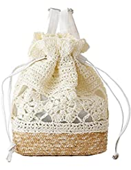Angelliu Girls College Style Handmade Straw Woven Flower Travel Beach Bag Backpack