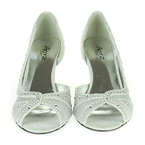 Mujer Señoras Piedras de Strass Brillar Corte lateral Peep Toe Tacón medio Noche Boda Fiesta Paseo Sandalias Zapatos Talla Plata