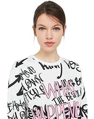 Mango Women's Printed Cotton Sweatshirt