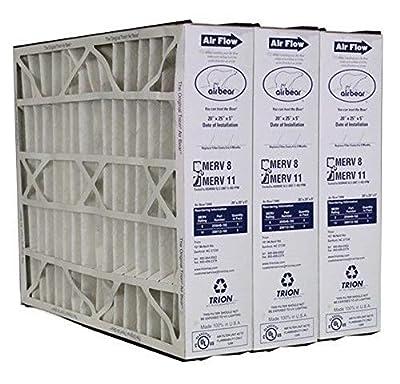 "Heating, Cooling & Air Trion Air Bear 259112-102 (3 Pack) Pleated Furnace Air Filter 20""x25""x5"" MERV 11"