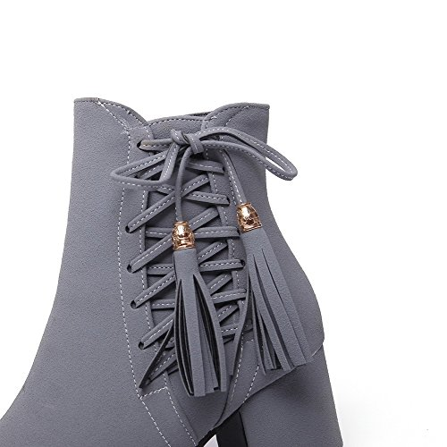 Kitten Heels Low Suede Boots Allhqfashion Gray Top Imitated Women's Solid Zipper n46xpqCw