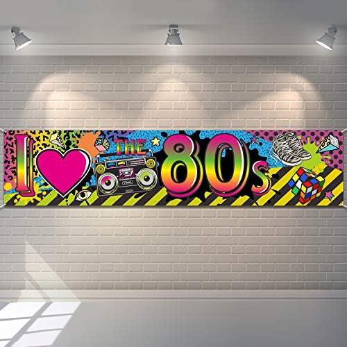 80s Party Dekorationen I Love 80s Banner 1980er Jahre Hip Hop Zeichen Hintergrund Foto Stand Geburtstag Party Zubehör 70 8 X 15 7 Zoll Spielzeug