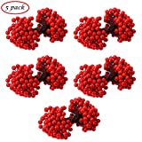 CCINEE Artificial Red Berry Stamens 500pcs Red Berry Stems for Christmas Tree Decoration and Wreath & Garland Making, 1000 Counts.