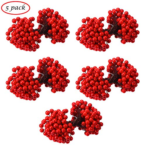 (CCINEE Artificial Red Berry Stamens 500pcs Red Berry Stems for Christmas Tree Decoration and Wreath & Garland Making, 1000)