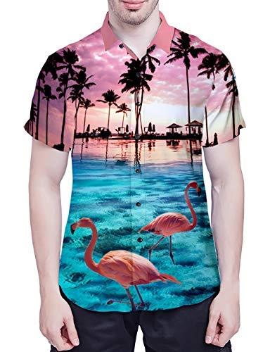 Hawaiennes Manches Imprimé 1 Chemises Décontracté Courtes 3d Funky Uideazone Homme Shirt Tee Casual À Tops Flamingos 05wpZq