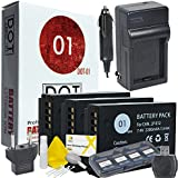 DOT-01 3x Brand Canon EOS M50 Batteries and Charger for Canon EOS M50 DSLR and Canon M50 Battery and Charger Bundle for Canon LPE12 LP-E12