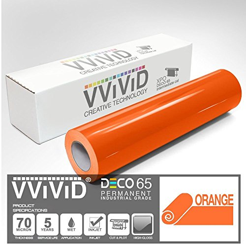 VViViD Orange Gloss DECO65 Permanent Adhesive Craft Vinyl for Cricut, Silhouette & Cameo (300ft x 11.8'' Master Roll) by VViViD