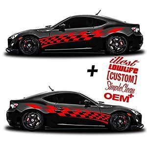Amazoncom SG MOTIV Vinyl Body Side Graphics Racing Flag Stripes - Custom car magnets for sports