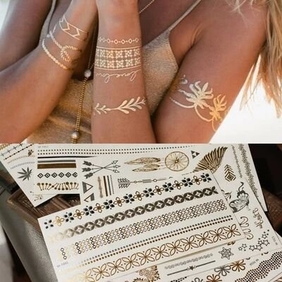 Temporary Tattoo 3 Sheets - Temporary Tattoos,Metallic,5 Large Sheets Gold Silver Glitter, by WffDirect,80+ Color Flash Fake Waterproof Tattoo Stickers-For Adults or Kids