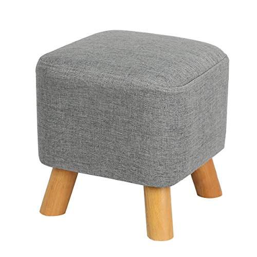 Eshow Footstools Ottoman Stool Foot Rest with Wooden Legs (Grey1) (Foot Rest Wooden)