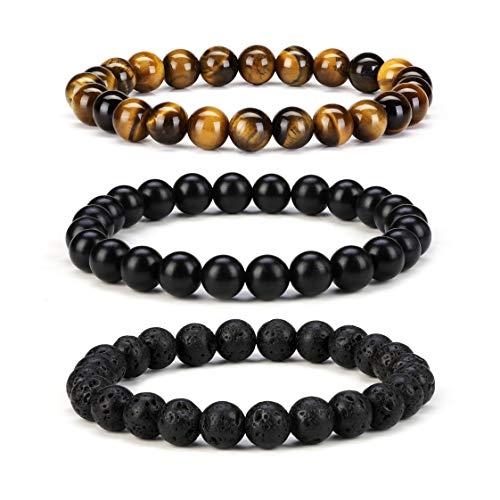 (Byson Men Women 8mm Natural Stone Tiger Eye Beads Bracelet Set Lava Rock Diffuser Bracelet Elastic Yoga Bracelet Bangle Touch Long Distance Relationship)