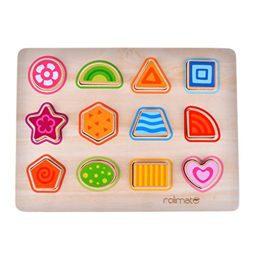 rolimate 12 Geometric shapes Preschool Early Educational Development Wooden Puzzles, Best Christmas Gift Toy for Age 1 2 3 Child Kids Toddlers Baby Boys Girls (Best Gifts Toddler Christmas)