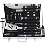 grilljoy BBQ Grill Tool Set with Meat Thermometer, 24pcs Stainless Steel BBQ Accessories with Black Non-Slip Handle in Aluminum Case, Premium Complete Outdoor BBQ for Man Mom
