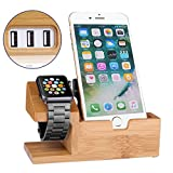 Apple Watch Iphone Charging Station Charging Dock Bamboo...