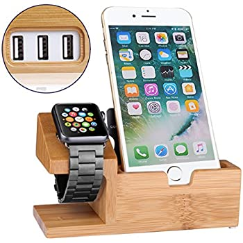 Apple Watch Stand USB Charging Station Dock Bamboo Wood Charger Cradle for iphone 7 6 6S Plus 5 5S 5c,3 USB Ports Hub