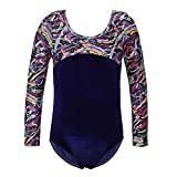 TFJH E Shiny Sport Pratice Dancewear Kids One Piece Long Sleeve Gymnastics Bodysuit Outfits Navy Multicolor 8A