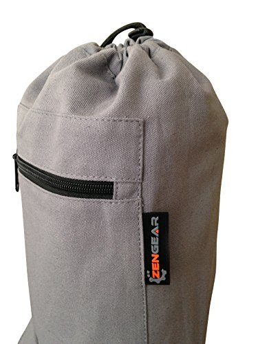 ZenGear Yoga Mat Bag with Cargo Pocket and Drawstring for Men and Women – Best Extra Long Wide Large Mat Carrier Tote Canvas Travel Mat Holder Carrying Bag, Grey