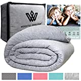 Weighted Evolution Cooling Weighted Blanket+Bonus Organic Bamboo Duvet Cover/PRE-Assembled/Best Blanket for Adults/Kids-Hypoallergenic Warm Cool Calm Cozy Heavy Blanket (Grey, 60'x 80'|15 lbs)