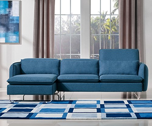 Limari Home Talia Collection Modern Fabric Upholstered Living Room Sectional Sofa, Blue