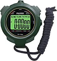 PULIVIA Sports Stopwatch Timer Lap Split Memory Digital Stopwatch, Countdown Timer Pace Mode 12/24 Hour Clock