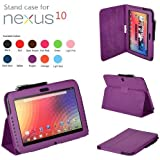 CaseGuru Premium Luxury Multi Function Standby Case/Cover/Folio for the Google Nexus 10.1 Inch Tablet and Free Stylus Pen (Purple)