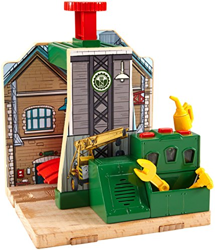 Fisher-Price Thomas & Friends Wooden Railway, Steamworks Lift and Repair Train Set - Battery Operated