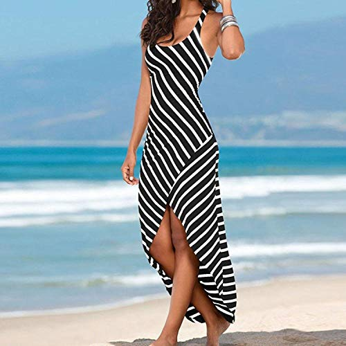 bab8f0044a Black Striped Dress for Women Maxi Beach Sleeveless Racerback Sundress  Boatneck