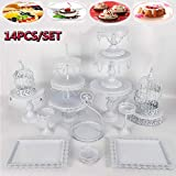Cupcake Stands, 14 Set Metal Crystal Cake Holder Cupcake Stand Cake Dessert Holder with Pendants and Beads,Wedding Birthday Dessert Cupcake Pedestal Display, White USA STOCK