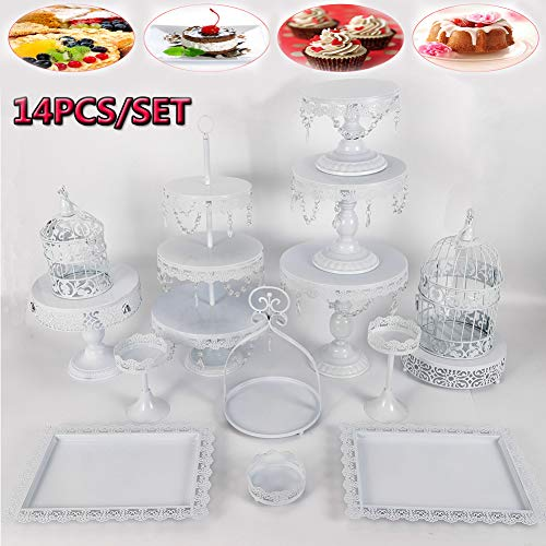 - Cupcake Stands, 14 Set Metal Crystal Cake Holder Cupcake Stand Cake Dessert Holder with Pendants and Beads,Wedding Birthday Dessert Cupcake Pedestal Display, White USA STOCK