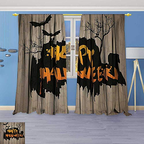 Philiphome Darkening Grommet Unlined Window Curtains,Happy Halloween Graffiti Style Lettering on Rustic Wooden Fence Scary Evil Effect Art Floral Pattern, Set of Two Panels