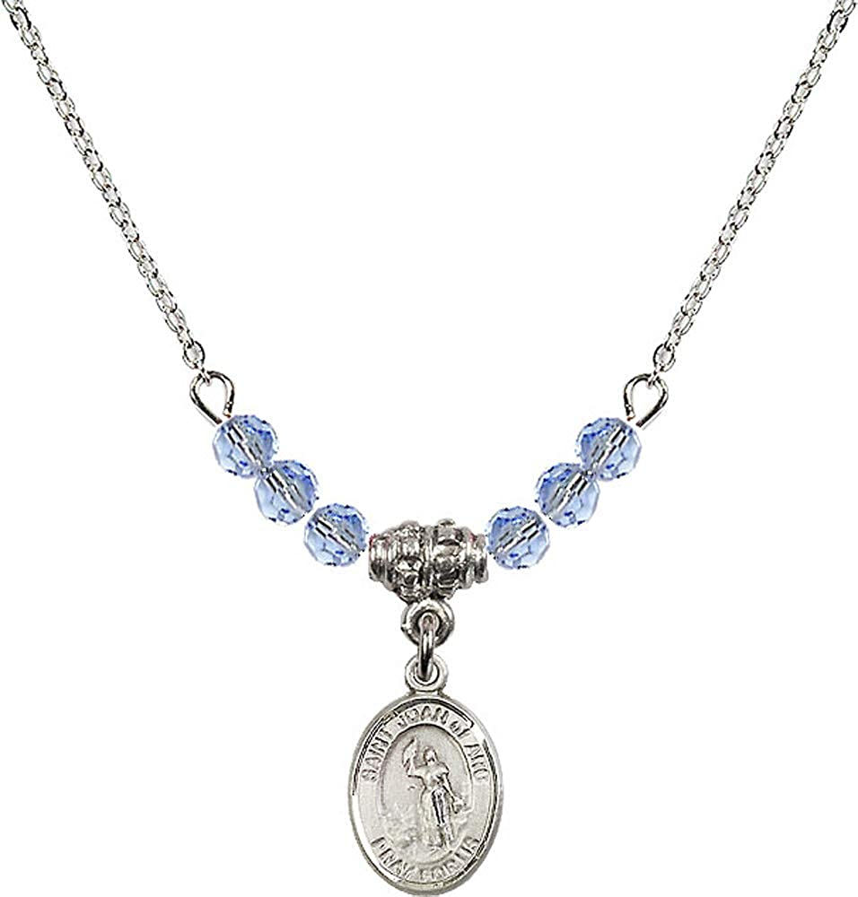 18-Inch Rhodium Plated Necklace with 4mm Light Sapphire Birthstone Beads and Sterling Silver Crucifix Charm.