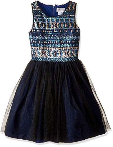 Price comparison product image Blush by Us Angels Big Girls' Dress Slvless Sequin Pop Over with Full Skirt, Blue, 16