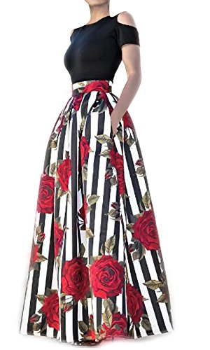 VLUNT Women's African Floral Print A Line Long Skirt Pockets Two Pieces Maxi Dress,Red-short Sleeve,Medium (Two Pocket Skirt)