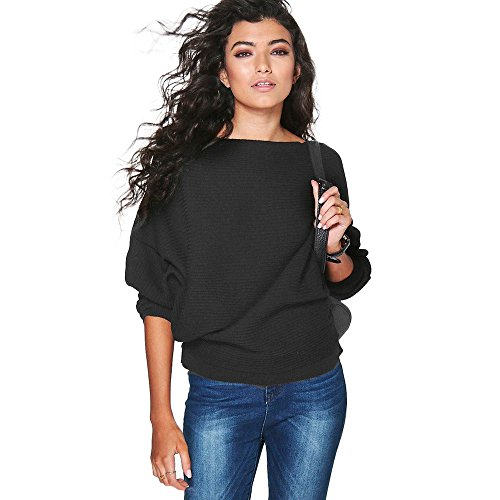 r Ladies Batwing Sleeve Knitted Pullover Loose Sweaters Slash Neck Jumper Tops Solid Color Knitwear ()