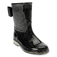JELLY BEANS Girls Glitter Rubber Rain Boots 100% Waterproof with Bow