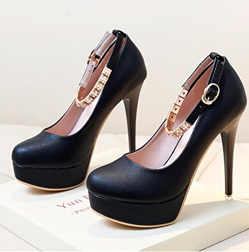 Gtvernh-mode Pied Band Anneau 10cm Stiletto Solo Chaussures Étanche Taiwan Trente-huit Noir