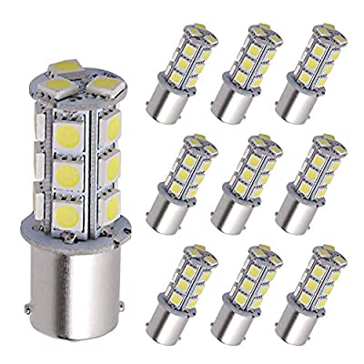 YITAMOTOR 1156 LED Bulb Cool White, 1156 1141 1003 BA15S RV Interior LED Replacement Light Bulb for Camper Car Truck, 18-SMD, 12V-24V, 10-Pack: Automotive
