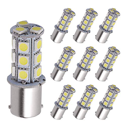 - YITAMOTOR 1156 LED Bulb Cool White, 1156 1141 1003 BA15S RV Interior LED Replacement Light Bulb for Camper Car Truck, 18-SMD, 12V-24V, 10-Pack