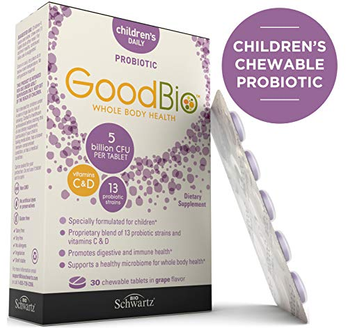 Premium Probiotic Chewable Tablets for Children - Kids Whole Body Health with Vitamins C & D3-5 Billion CFU - Promotes Digestive & Immune Health - Supports a Healthy Microbiome - Shelf-Stable