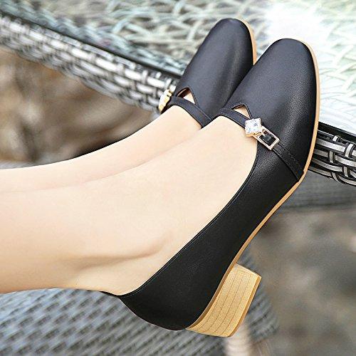 con tirante pelle Testa calzature 43 in un spesso nonna di 33 gran asolato scarpe 40 donna quadrata con metri grandi numero unica donna semi calzatura codice a nero r75PrqTwx