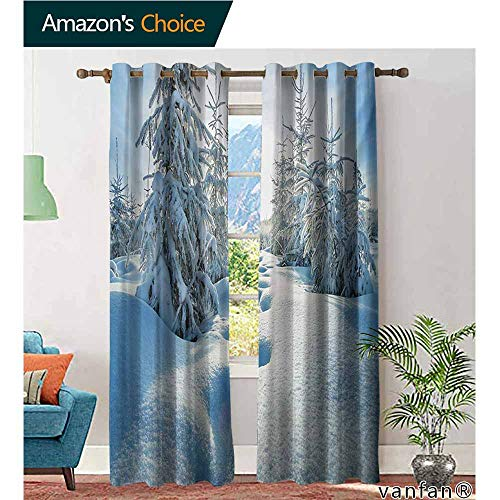 Big datastore 2 Packs Grommet Curtains,WinterWinter Landscape with Forest and Blue Sky Frosted Trees Footprints Seasonal Nature,for Living/Bedroom Room/Patio Door,Blue White,W108 xL84