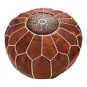 Marrakesh Gallery Moroccan Pouf – Genuine Goatskin leather – Bohemian Living Room Decor – Hassock & Ottoman Footstool – Round & Large Ottoman Pouf – Unstuffed – Includes Stuffing Instructions