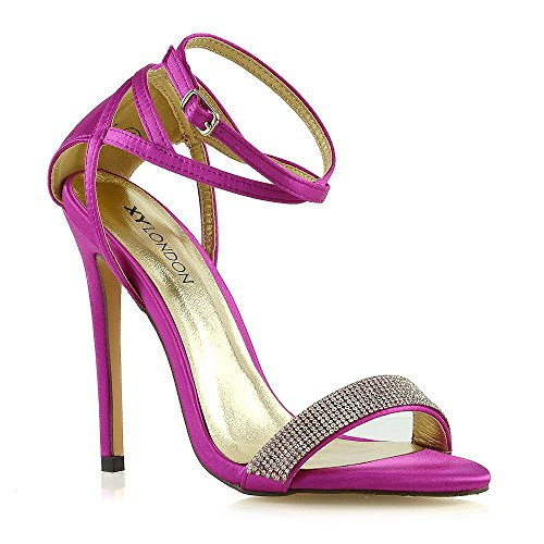 ESSEX GLAM Womens Stiletto High Heels Ladies Diamante Fuchsia Satin Bridal Shoes 9 B(M) -
