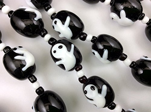 Halloween Cute Ghost Black Barrel Lampwork Glass Beads(Pack of 12 (Halloween Lampwork Glass Beads)