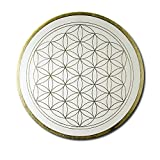 Flower of Life 'Clarity' Wall Art in Gold - Hand-Painted - 60 cm Round - Gold Flower of Life Painted in Acrylic - Canvas Mounted on a Round Stretcher Frame | Made in Germany