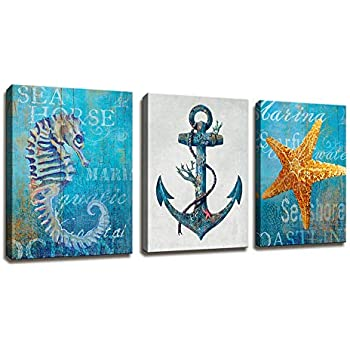 Vintage Rustic Nautical Anchor And Starfish Shell Of The Beach Antique Pictures Decorations Walls - 3 Panel Blue Wall Art Giclee Canvas Painting Stretched And Framed Artwork Decor Home Bathroom Office