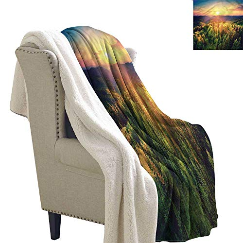 AndyTours Baby Blanket Landscape Sunset Forest and Hills Blanket for Family and Friends W59 x L31