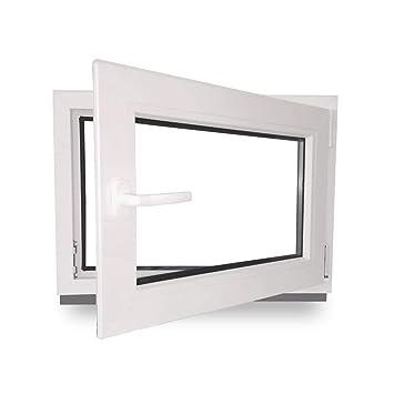 BxH 1000x600 // 100x60 DIN Rechts 3-Fach-Verglasung Wunschma/ße m/öglich Fenster Kunststoff wei/ß Kellerfenster Lagerware