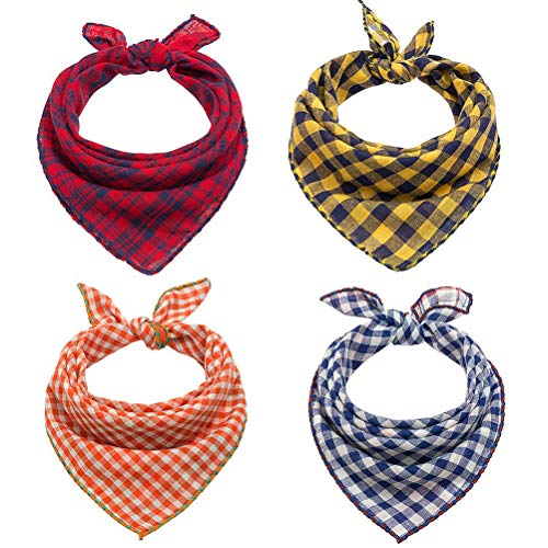 (SCENEREAL Plaid Dog Bandana Scarf Pack - Triangle Bibs Reversible Plaid Printing Kerchief 4 Pcs/Set Accessories for Small to Large Dogs Cats Pet)